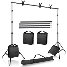 Studio Photo Video 9.8 ft. Wide Cross Bar 8.5 ft Tall Background Stand Backdrop Support System Kit with Carry Bag