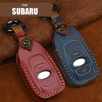 Retro Genuine Leather Remote Key Fob Case Cover Protector Keychain for Subaru Forester Impreza Outback WRX BRZ XV Crosstrek image