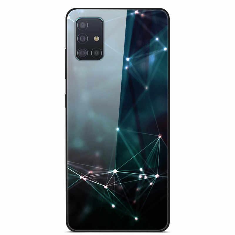 Samsung A51 durumda temperli cam sert arka kapak Samsung Galaxy A71 telefon kılıfları silikon tampon Fundas A 51 s20 artı s 20