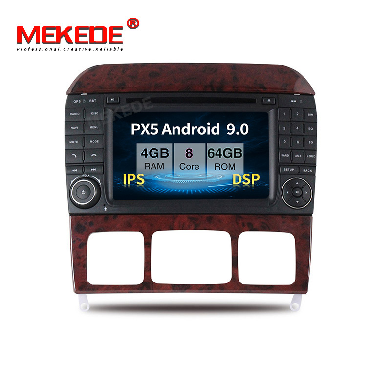 PX5 4GB+64GB Android 9.0 Car multimedia player for Mercedes <font><b>Benz</b></font> S-Class <font><b>W220</b></font> S280 S320 S350 S400 S430 <font><b>S500</b></font> 1998-2004 with DSP image