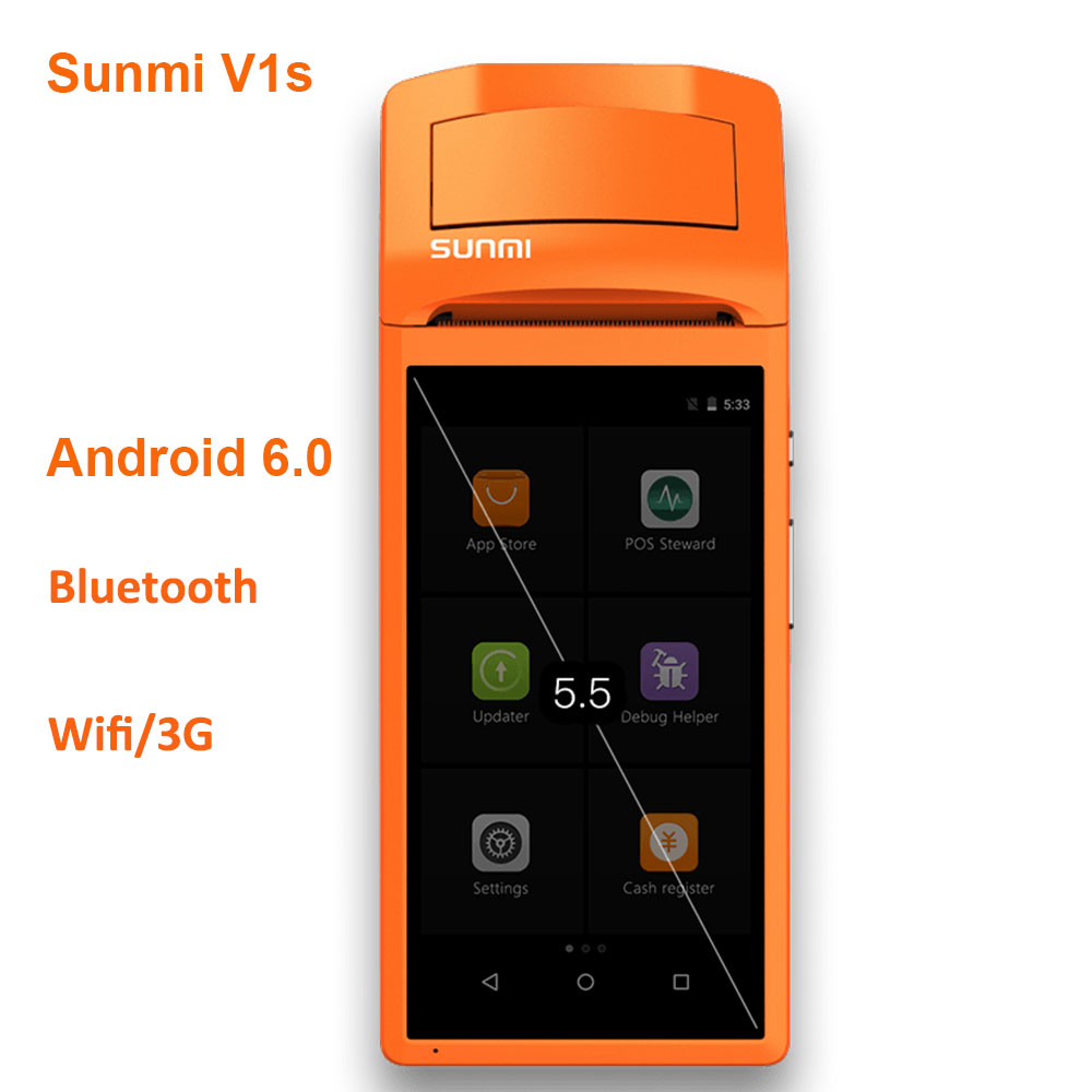 ISSYZONEPOS Sunmi V1s PDA Android Bluetooth imprimante de reçu thermique 58mm haut-parleur commande Wifi 2D QR Scanner fente pour carte Sim au détail