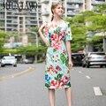 MIUXIMAO 2020 Sommer Kleid Neueste Ankunft Vintage Kurzen Sleevel Blume Druck Fischschwanz Elegante Dünnes Kleid Frauen vestidos