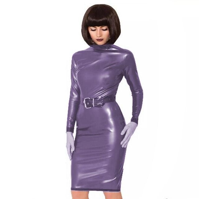24 Colors Back Zipper Long Sleeve Knee Length Dress Lady Slim Vestido Fashion Patchwork Color Midi Dress Sexy Stage PVC Clubwear 2