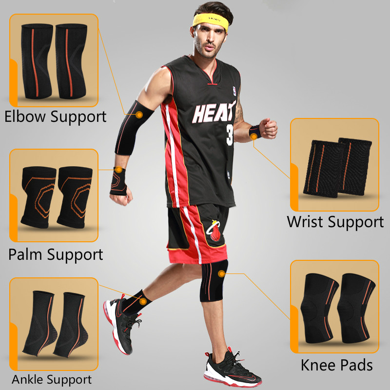 Knee Pads Elbow Pads Ankle Brace Wrist Support Palm Protector Sports Basketball Volleyball Running Gym Protective Gear Set