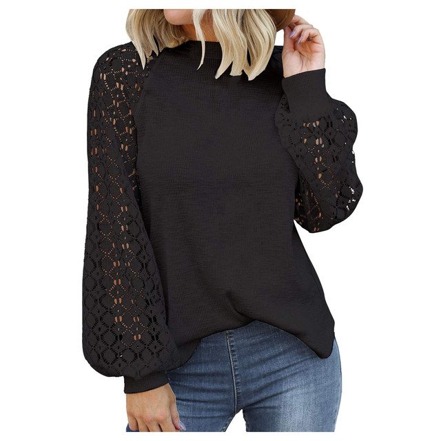 40# Autumn Winter Women Blouse O-neck Long-sleeved Lace Stitching Loose Tops Women Shirt Clothing Women Clothes Блузка Женская 2