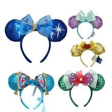Minnie dos desenhos animados orelhas bandana sereia princesa grandes arcos de lantejoulas orelhas traje bandana cosplay plush adulto/crianças bandana presente