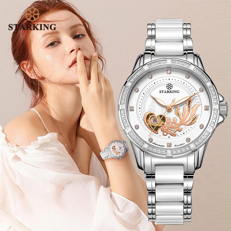 STARKING Mechanische Uhr Frauen Automatische Skeleton Mode Damen Kleid Uhr Mit Strass Weiß Keramik Armbanduhren Relogio-in Damenuhren aus Uhren bei title=