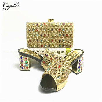 Wonderful Black African High Heel Slipper Shoes And Purse Handbag Set With Crystal Stones ASB3 Heel Height 7CM