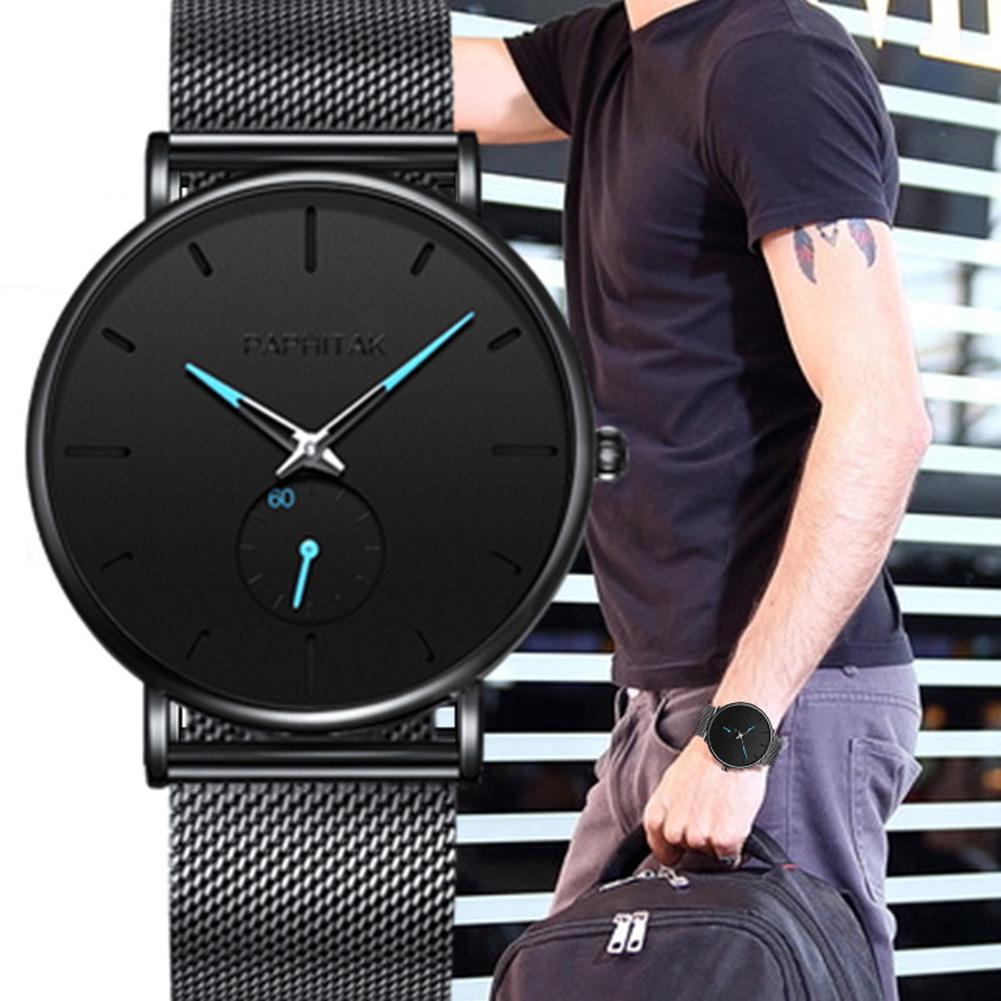 Minimalist Watch Sub-dial Decor No Number Men Ultra Thin Mesh Band Quartz Wrist Watch Zegarek Meski часы мужские наручные
