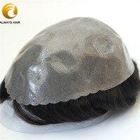 Полукачественная популярная прочная основа для волос для мужчин 6 дюймов индийские человеческие волосы парик 130% плотность волос протез вол...