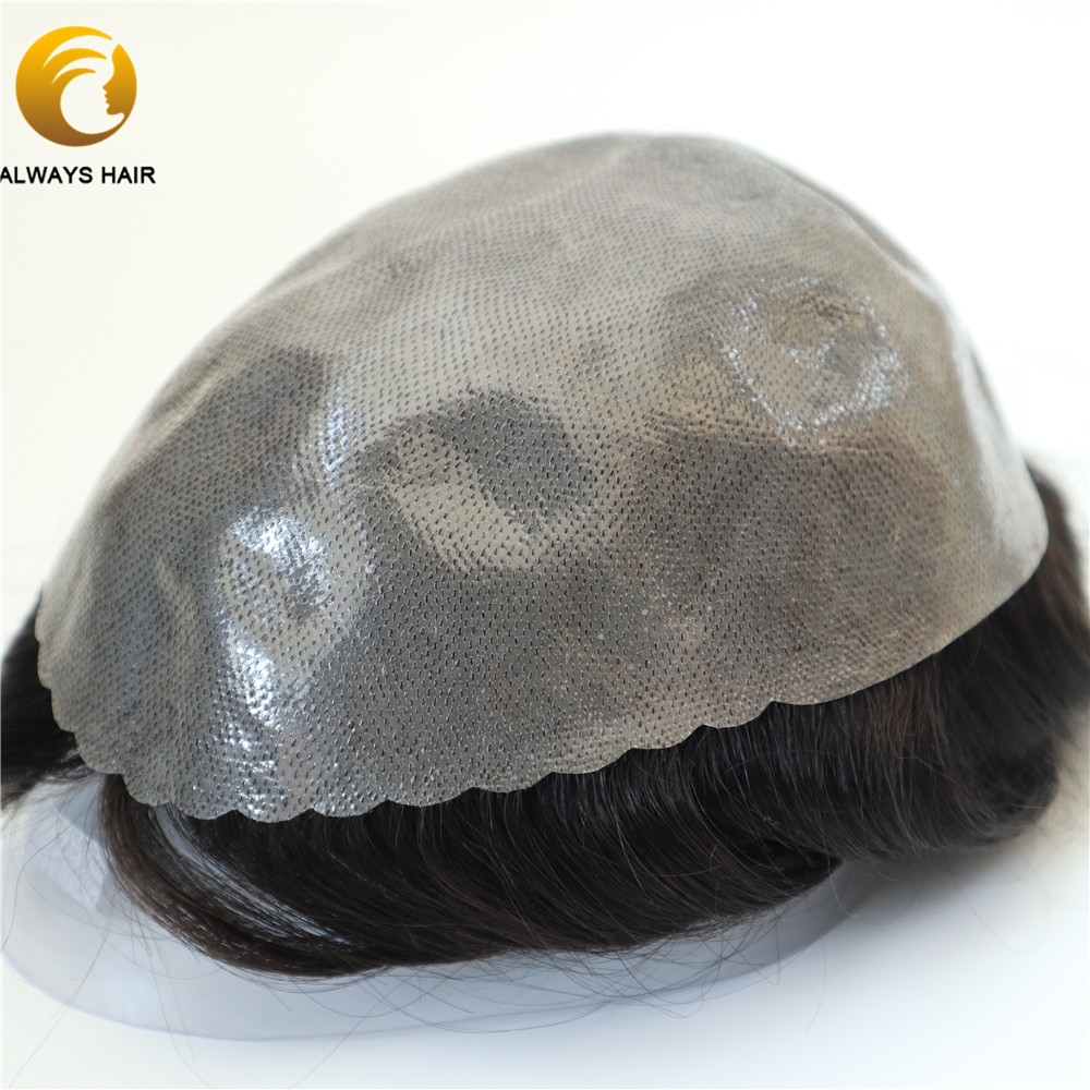 Semi Quality Popular Durable Skin Base Hair Unit for Men 6 inch Indian Human Hair Toupee 130% Hair Density Hair Prosthesis Wig
