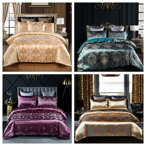 2020 New Fashion Luxury 2/3pcs Bedding Set Satin Jacquard Duvet Cover Sets US/EU Size Single Twin Double Full Queen King