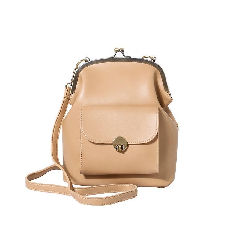 Vintage Women Shoulder Bags Korean Style Metal Buckle Clip Ladies Handbags PU Leather Lady Sling Bag Female Crossbody Bag Black