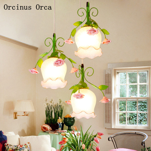 Modern Simple Rural Flowers And Plants Small Chandelier Restaurant Bar Romantic Warm Led Rose Glass Chandelier