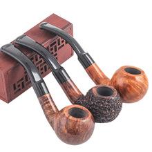 1PC Bent Typ Handgemachte Old-fashioned Rohr Briar Pfeife 9mm Filter Tragbare Tabak Rohre für Männer cheap CN (Herkunft) Verbogene Art DLD346T