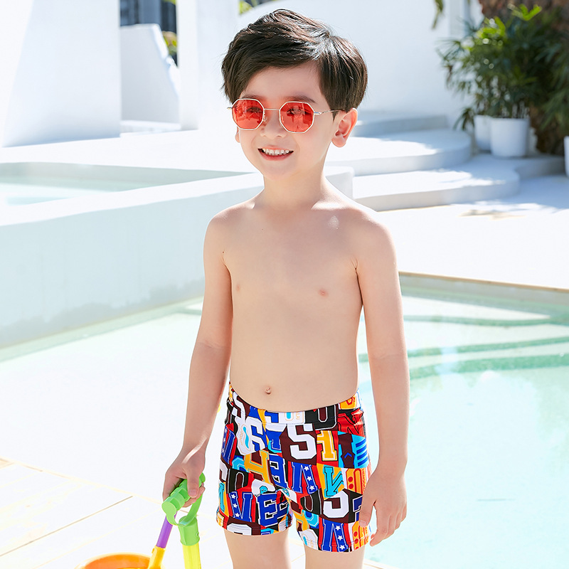 CHILDREN'S Swimming Trunks 2019 New Products Hot Sales Boxers Color Lettered Flower Swimming Trunks BOY'S Male Baby CHILDREN'S S