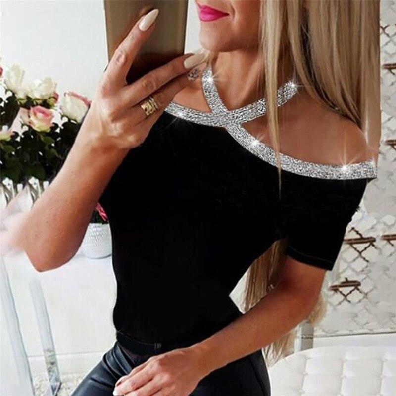 Женская летняя футболка с коротким рукавом, с открытыми плечами, с блестками, для женщин, сплошной цвет, Halte, тонкий топ, футболки