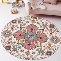 American country flower round carpet Indian national style living room 160cm round floor mat custom made plush round rug