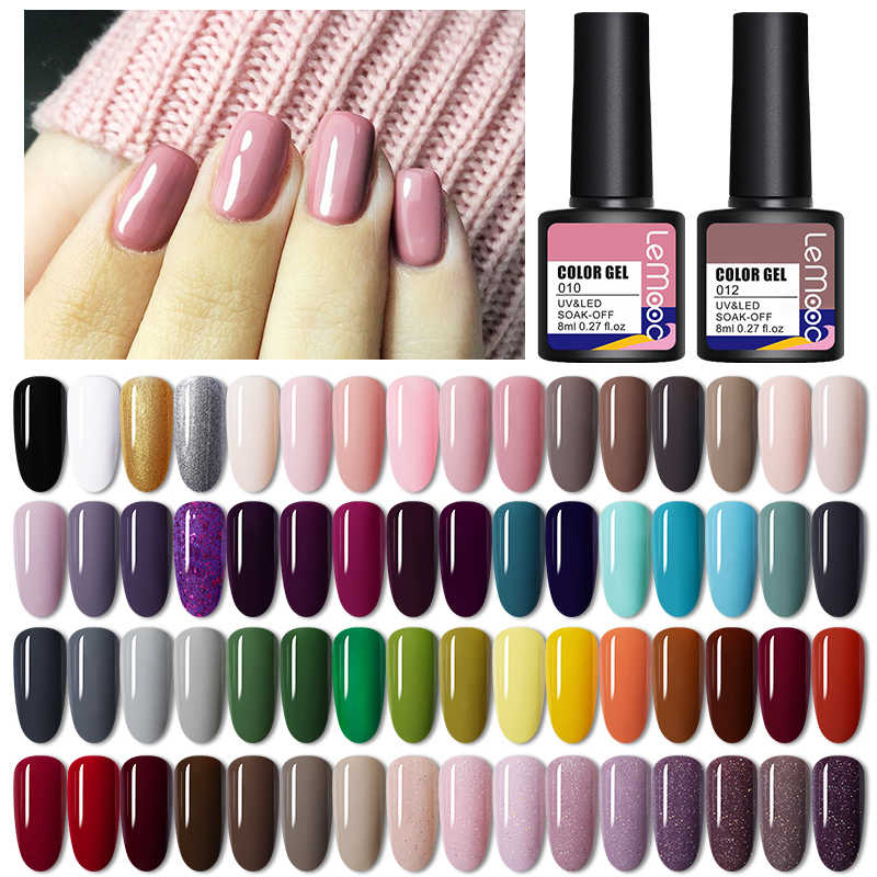 Lemooc Nail Gel Polish 8Ml Losweken Semi Permanente Hybrid Nagel Gel Lak Uv/Led Gel Verdwijnen Voor base Matte Jas Nodig