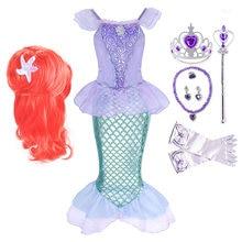 Menina princesa pequena sereia ariel vestido crianças halloween fantasia traje crianças carnaval festa de aniversário roupas verão fantasiar-se