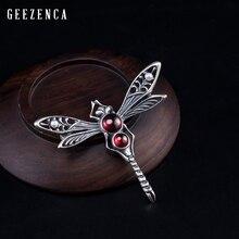 925 Sterling Silver Garnet Pearl Dragonfly Brooch 2019 New Original Design Vintage Gemstone Brooches Fine Jewelry Women Gift