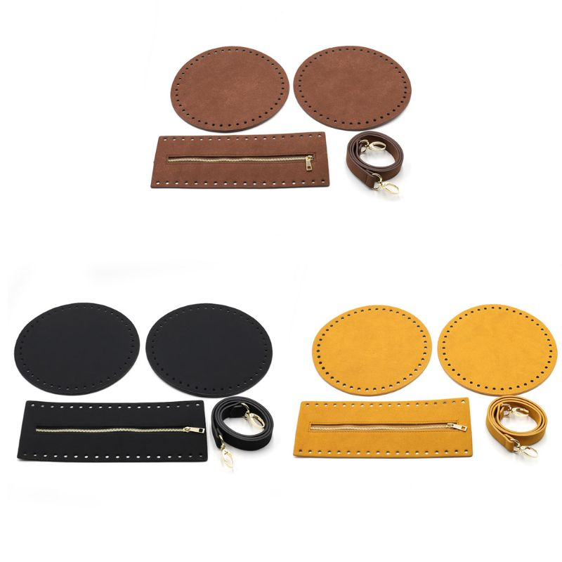 4Pce/Set Bag Bottom Shaper Base Round Faux Leather Purse Inserts Strap Zipper For DIY Sewing Crochet Shoulder Handbag
