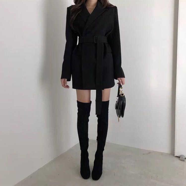 Colorfaith 2019 nuevo Otoño Invierno chaquetas de las mujeres fajas chaquetas muescas ropa Inglaterra sólido estilo cárdigan Tops JK9715