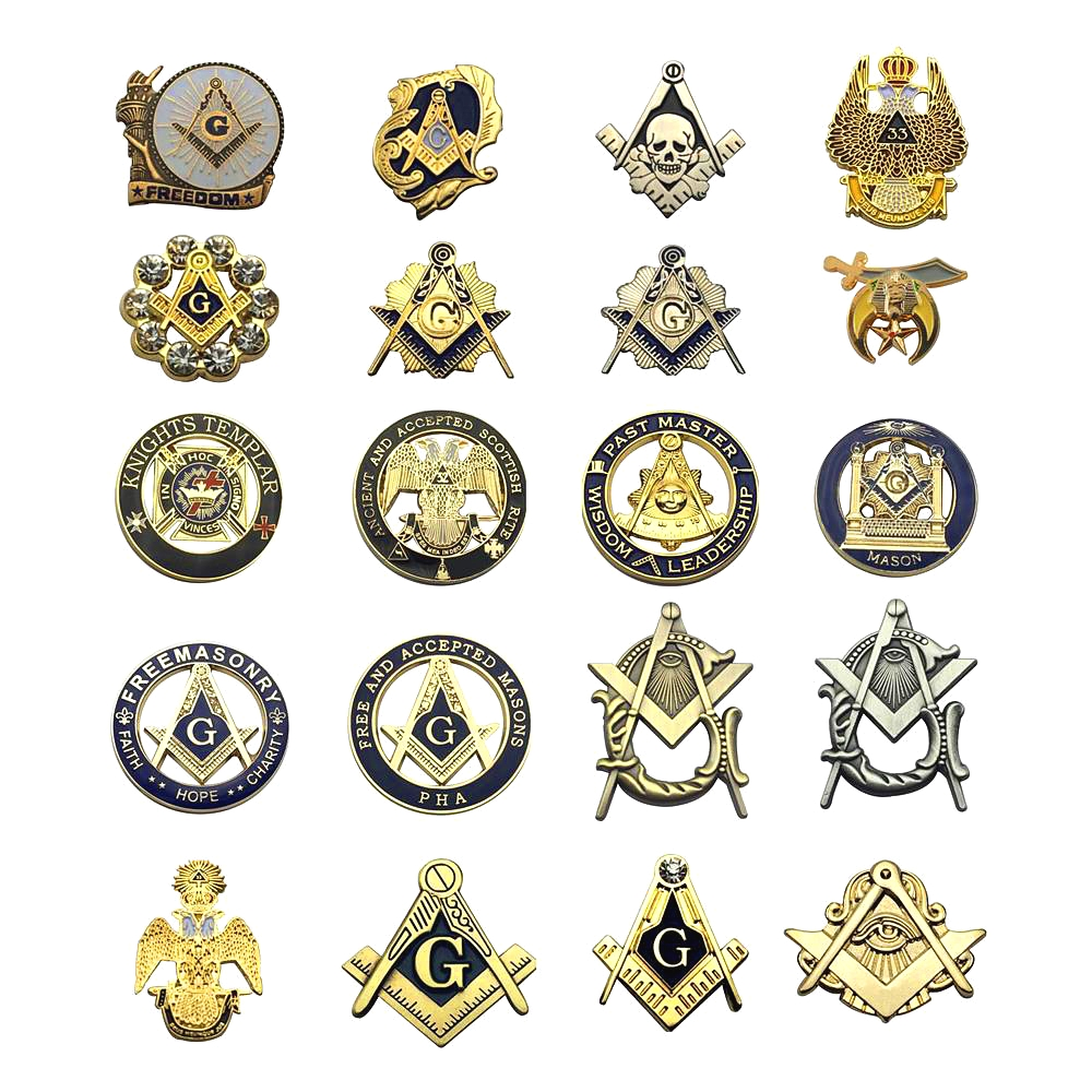 Multi Masonic Lapel Pins Free and Accepted Mason Knight templar Compass and Sqaure Brooch Gifts Badges With Butterfly Clutch