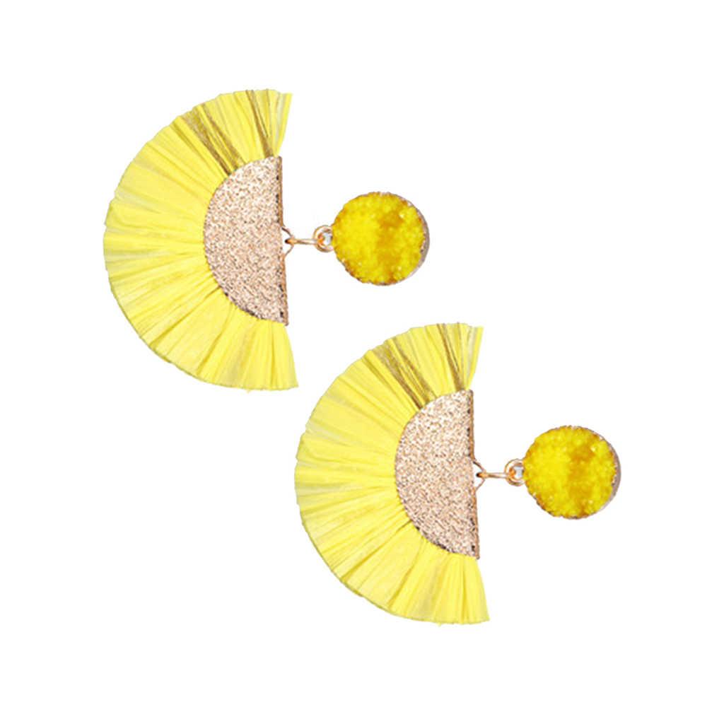 Bohemen Stro Kwastje Oorbellen Voor Vrouwen Fan Rotan Rieten Drop Earring Lange Raffia Oorbellen Handgemaakte DIY Sieraden