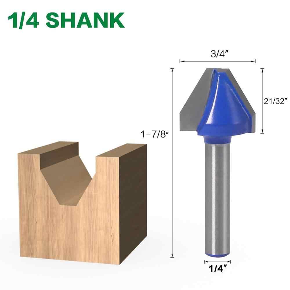 1Pc 60 תואר 1/4 ″ שוק נגרות טחינת מחבר חותך כלי קידוח כרסום עבור עץ קרביד סגסוגת