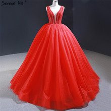 Dubai Red Sexy V Neck Evening Dresses 2020 Real Photo Beading Sleeveless Lace Up Evening Gowns Serene Hill HM66968