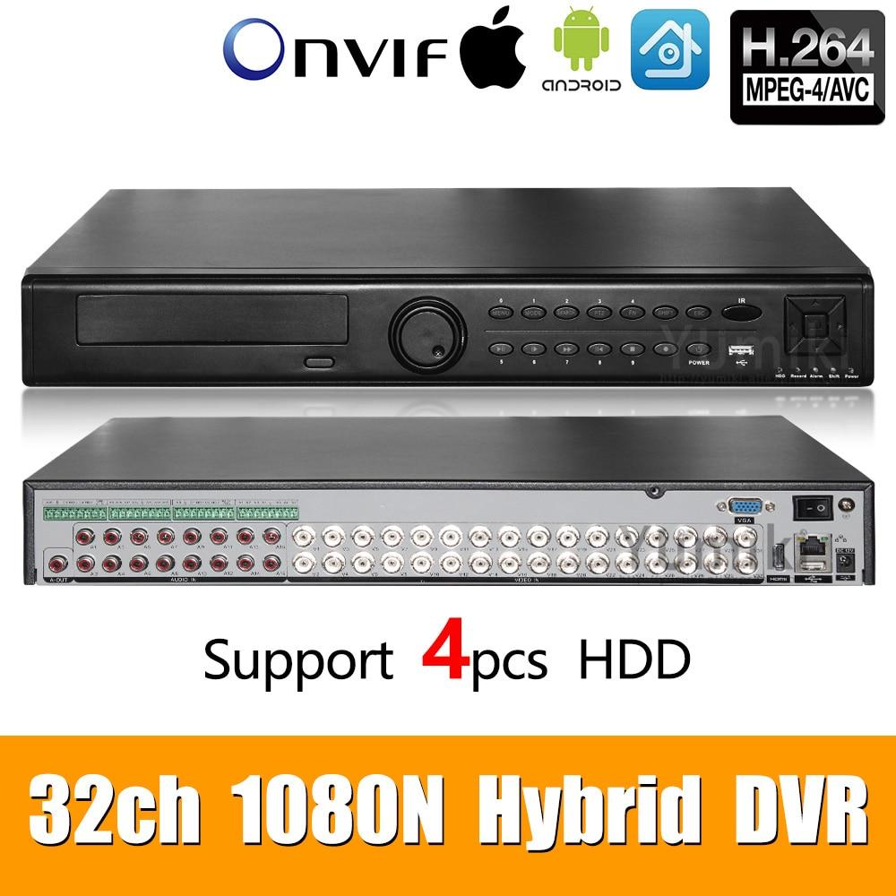 32ch 1080N DVR 6 en 1 coaxiale CVI TVI AHD systèmes d'enregistrement vidéo de Surveillance hybride NVR pour AHD 8CH IP Support USB Wifi XMEYE