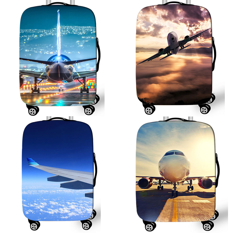 18-32 Inch Aircraft Travel Suitcase Cover Printed Plane Elastic Luggage Protective Cover Anti-dust Trolley Case Travel Accessory
