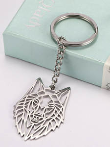 Animal Keychain Keyring Pendant Jewelry Keyholder Wolf Stainless-Steel Gift Forest Cut-Out