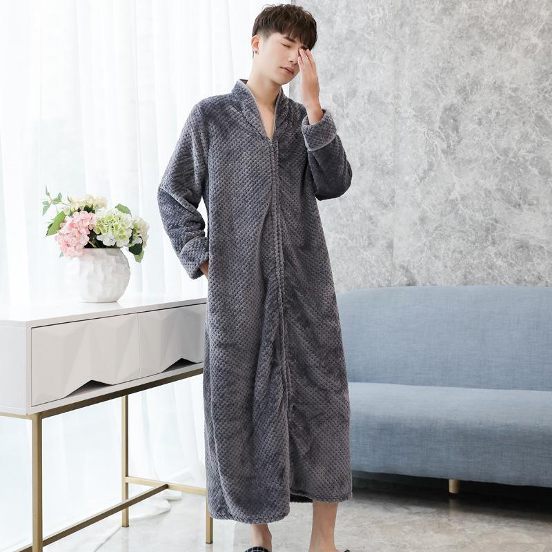 Gray Flannel Men Robe Gown Nightwear Casual Full Sleepwear Homewear Zipper Bathrobe Gown Keep Warm Soft Long Unisex Nightdress