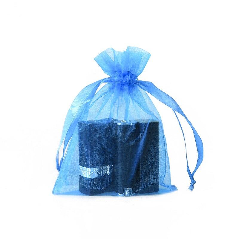 2020 New Blue Mesh Bags Small Cosmetic Bag Packaging Jewelry/Wigs/Makeup Gift Bag Custom Logo Drawstring Bag 13*18 Cm