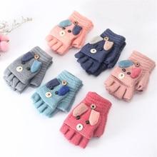 Зимние рождественские детские теплые перчатки для начальной школы, кашемировые вязанные перчатки на половину пальцев, рукавицы Мультфильмы для мальчиков и девочек, От 4 до 12 лет