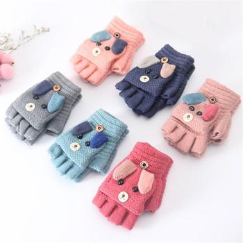 2019 zima boże narodzenie dzieci ciepłe rękawiczki szkoła podstawowa kaszmirowe dzianiny odwróć pół palca rękawiczki Cartoon rękawiczki dla chłopców dziewcząt 4-12Y tanie i dobre opinie pudcoco COTTON Children Warm Gloves Dla dzieci 4 to 12 years Kids Unisex ship in 24 hours accept