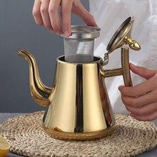 Чайник для чая, кофе, 1л, золото, толще, нержавеющая сталь, чайник для воды, отель с фильтром, индукционная плита для ресторанов, чайники, серебро