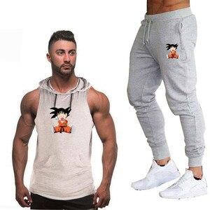 Image 5 - 夏新ドラゴンボール男性のフード付きベストカジュアルスーツ男性の服の男はトップス + パンツ男性トレーナーブランドフード付きベストセット