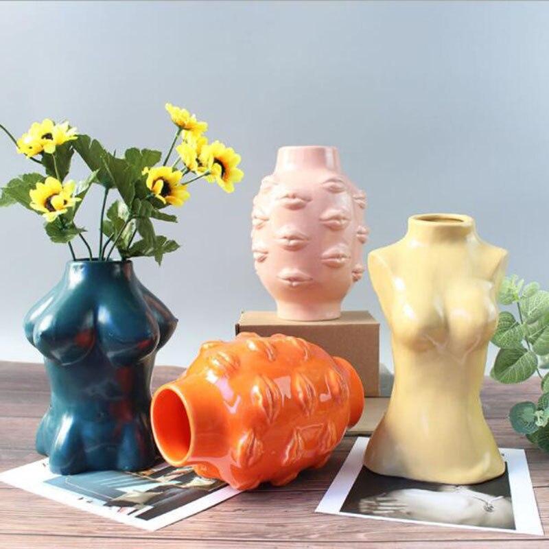 Ceramic Vase Home Decor Flower Pot Body Art Vase Room Decoration European Decoration Sculpture Hydroponic Plant Container Just6F
