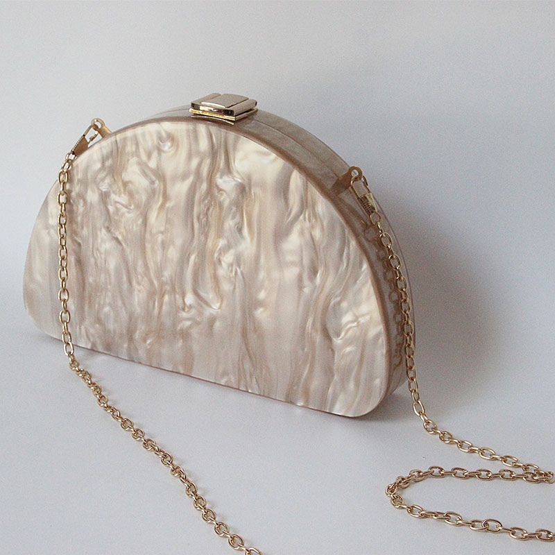 Women 39 S Shoulder Crossbody Bag Acrylic Simple Style Champagne Semicircular Feel Comfortable Women 39 S Shoulder Crossbody Bag in Top Handle Bags from Luggage amp Bags