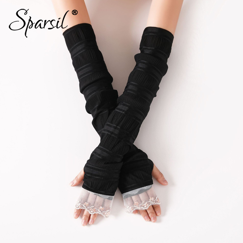 Sparsil Ladies Summer Lace Solid Long Gloves Thin Breathable Sunscreen Driving Sleeve Mittens Elegant Fingerless Female Gloves