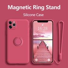 Funda de silicona con anillo para iPhone, 11 Pro, Max, XR, X, XS, 6, 7, 8 Plus, SE 2020, 12, Mini soporte de lujo, cordón magnético suave