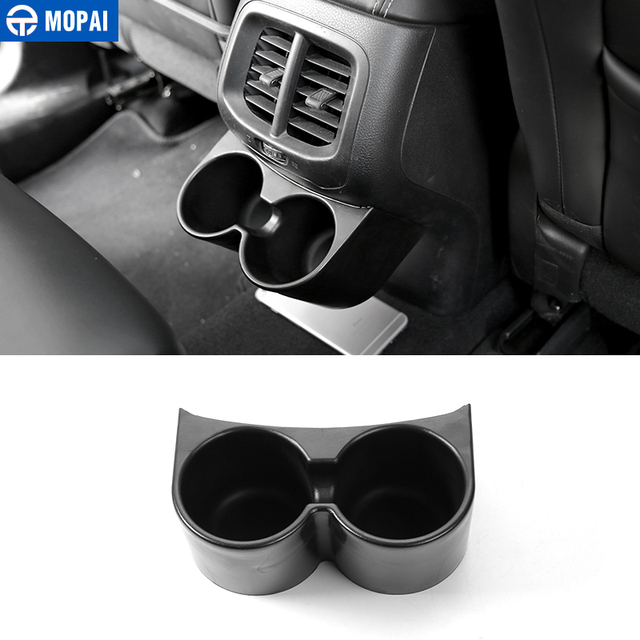 MOPAI ABS Car Interior Rear Seat Armrest Drinks Cup Holder Decoration Cover Stickers for Jeep Cherokee 2014 Up Car Styling