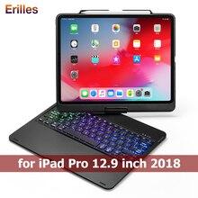 Жесткий чехол клавиатура с подсветкой для iPad Pro 12,9 дюйма вращения 2018 с держателем карандаша планшета блютуз чехол Фунда