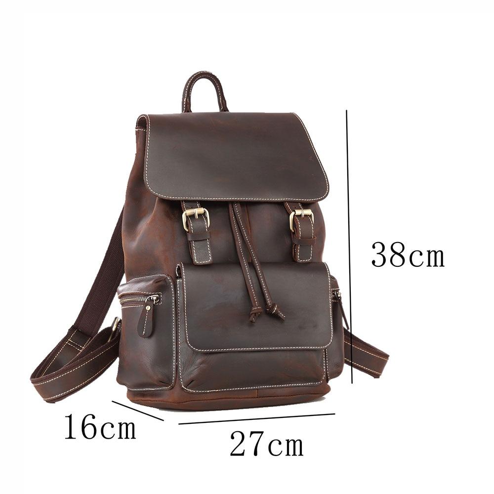 Женский рюкзак ручной работы из натуральной кожи, рюкзаки для путешествий, высококачественные школьные сумки из прочного материала - 5