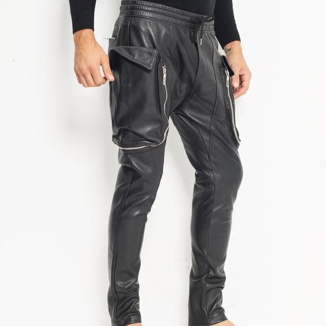 New mode men's big pocket big pocket elastic size jogging pants in backyard sheepskin leather pants drop pants cross pants 2