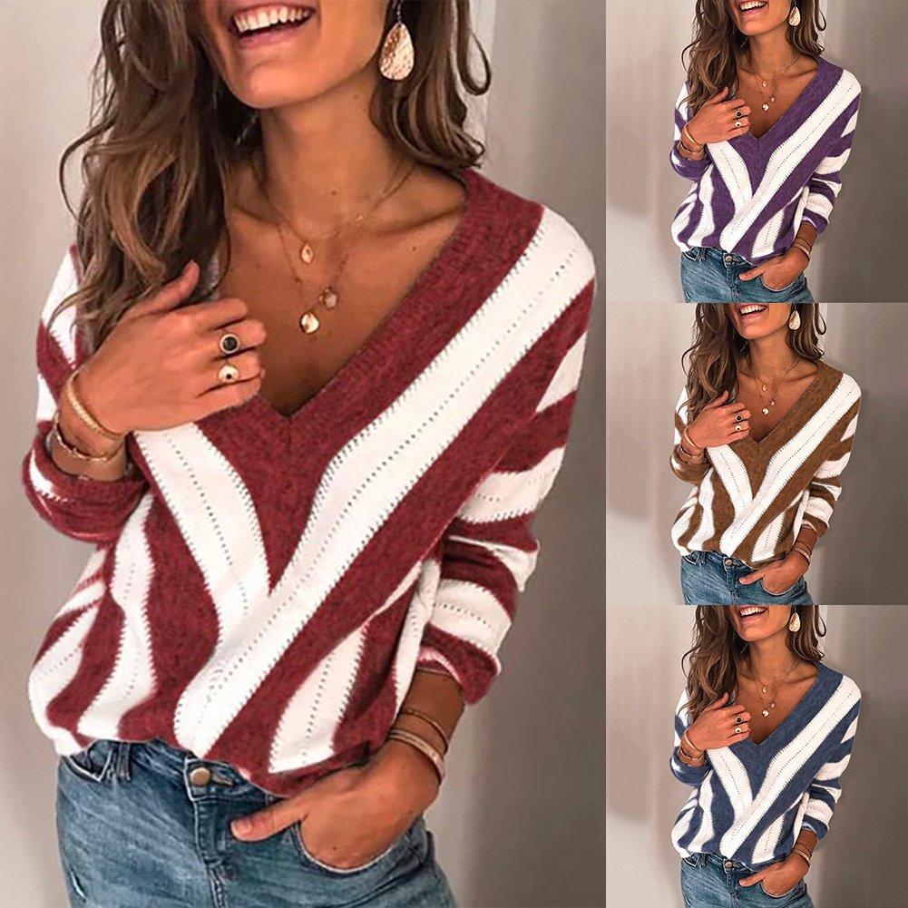 2019 Basic Deep V Striped Solid Autumn Winter Sweater Pullover Women Female Knitted Sweater Long Sleeve Badycon Sweater Pullover