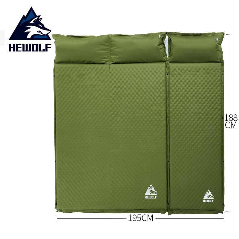 HEWOLF 2 + 1 épissé extérieur épais 5cm automatique gonflable coussin coussin tente extérieure camping tapis lit matelas 2 couleurs